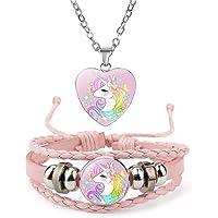 Jewelry con Unicorno Collana e Bracciale per Bambini Set Gioielli Regalo di Unicorno per Teenager Bambini Natale…