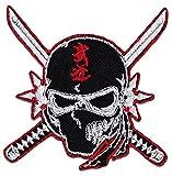 Ninja & Crossed Katanas Aufnäher Aufbügler Patch Japan Kampfsport Tattoo MMA (Klein )