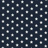 MOORE DENIM Baumwollstoff marineblau mit weißen Sternen 8 mm, Meterware