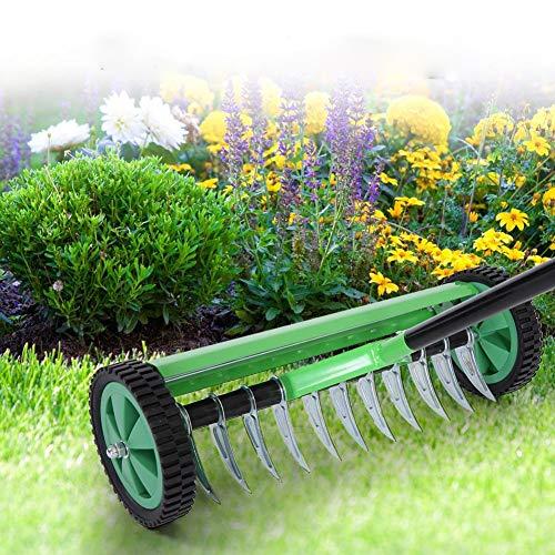SOULONG aireadores de césped con Pinchos, Rodillo de Hierba Manual para Exteriores, aireador de césped de jardín con Mango Largo Tipo estaca de Acero Resistente para jardín