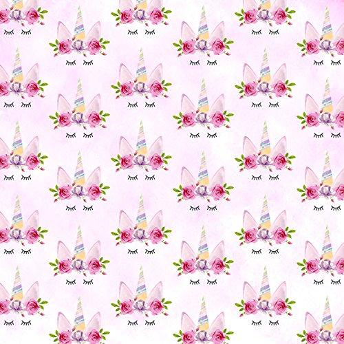 sleepy unicorn printed canvas fabric A4 sheet hair bow making design 1