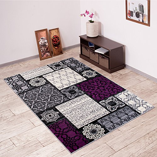 Tapiso Area Rugs Grey & Purple PATCHWORK Contemporary Pattern Modern Mosaic Durable Carpet For Living Room Bedroom Interior Design | Scarlet Collection Size - 220 x 300 cm (7ft3 x 9ft10)