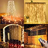 Ollny Window Curtain Lights 3m x 3m USB Powered 304 LED Warm White Curtain Fairy Lights 8 Modes Water Resistant String Lights with Remote for Garden Gazebo Party Christmas Bedroom Decoration