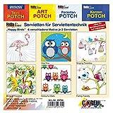 Kreul 49794 - Serviettenmischpackung, Happy Birds, 6 Motive, 2 Stück