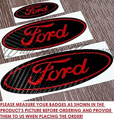 FULL BADGE SET: Black & Red Carbon Fiber Sticker Decal Overlay FORD Fiesta ST Ka II Mondeo S Max B, C, Kuga