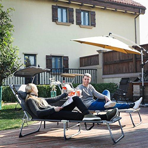 SONGMICS Sonnenliege mit Sonnendach max. Belastbarkeit: 250 kg 193 x 30 x 62 cm (B x H x T) GCB19T - 6