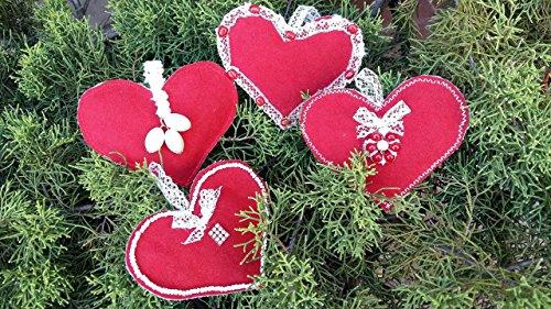 Newsbenessere.com 612HU1EvJCL Addobbi di Natale Decorazioni natalizie Set di 4 cuori tessuto rosso e bianco Regalo decori natalizi