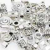 Bastelset Metallperlen Mix 118 St. Metall Beads Perlen silberfarben -258