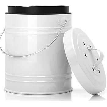 Bac à Compost Cuisine, Composteur Poubelle avec Bac en Plastique & Filtres à Charbon – Sans Montage, Fermeture Étanche contre des Insectes et Odeurs, capacité 5 Litres par Cooler Kitchen