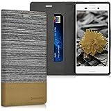 kwmobile Funda Flip Case para Sony Xperia M4 Aqua - Funda protectora Bookstyle de polipiel y tela en gris claro marrón