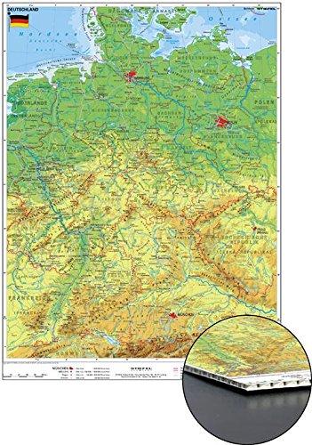 Deutschlandkarte Deutschland physisch, zum Pinnen, 56 x 76 cm