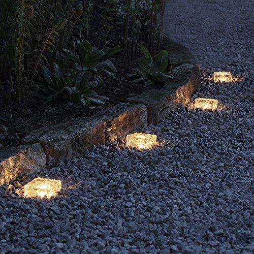 Lights4fun 4er Set LED Solar Glas Pflastersteine Wegbeleuchtung warmweiß klein