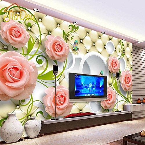 300cmX250cm�Foto personalizzata carta da parati in pelle rosa 3D parete murale Carta per soggiorno s