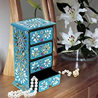 Portagioie Almirah per le donne gioielli Organizer con piccoli cassetti armadio gioielli cabinet, Altro, Blue, Height : 8.3 iches