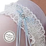 Lywedd® - Strumpfband ivory Schmetterling - Strumpfband Hochzeit mit Swarovsky Elementen incl. Sticker