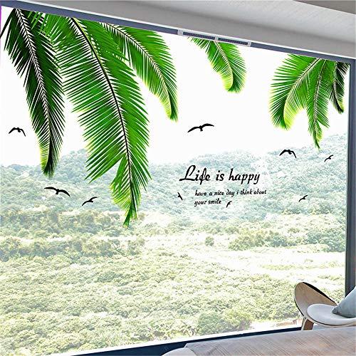 WANQT Wandtattoos Wandbilder Wandaufkleber Aufkleber Hawaiian Style Mediterrane Dekoration Grüne Pflanze Palme Blätter, 150 * 73cm