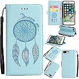 Nancen Compatible with Handyhülle iPhone 7 Plus / 8 Plus (5,5 Zoll) Hülle, Windspiele Feder Muster, Magnetverschluss Standfunktion Brieftasche und Karten Slot