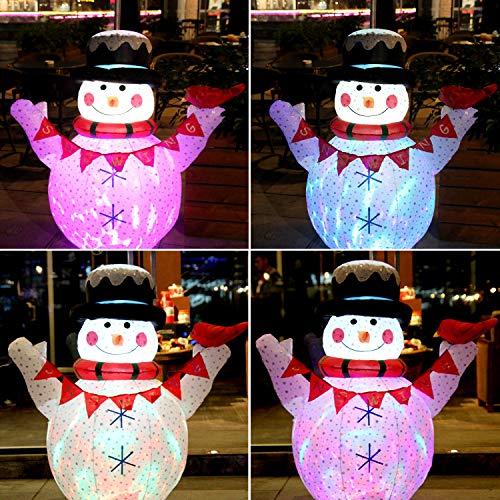 CCLIFE Led Schneemann Beleuchtet Aufblasbar Schneemänner 120/180 CM, Farbe:Weiß008-120cm -