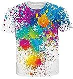 uideazone Sommer Kurzarm Tshirts Herren 3D Print Bunt Spritzen Crewneck T-Shirts Cool Weiß