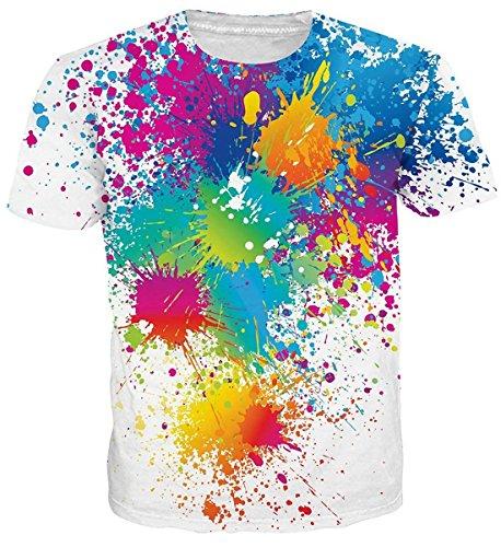 uideazone Jungen Tshirts Cool 3D Print Bunt Splash Kurzarm Tee Shirts Weiß L