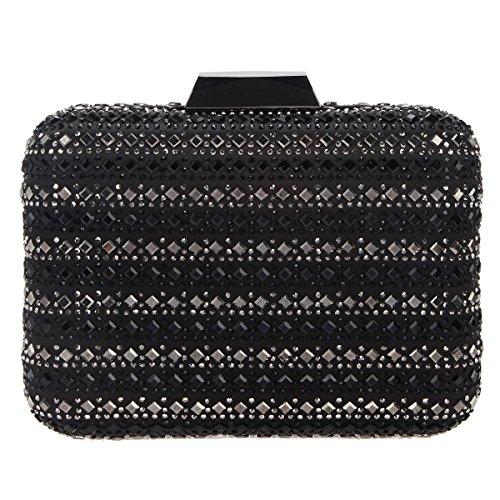 Bonjanvye Bling Crystal Rhinestone Clutches for Women Evening Clutch Bag Wedding Party Black