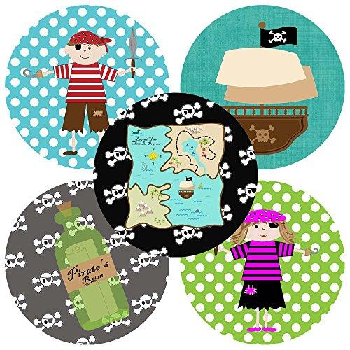 Adorebynat Party Decorations - EU Piraten-Aufkleber-Aufkleber für Kinder - Jungen-Mädchen-Geburtstags-Babyparty-Partei-Bevorzugungs-Aufkleber - Satz von 50 (Matey Kostüm Ahoy)