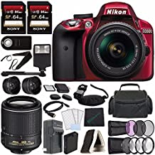 Nikon D3300 DSLR Camera With 18-55mm AF-P DX Lens (Red) + Nikon AF-S DX NIKKOR 55-200mm F/4-5.6G ED VR II Lens + Battery + Charger + Sony 64GB UHS-I SDXC Memory Card (Class 10) + Flash Bundle