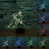 LED Lampe Nachtlicht,KINGCOO Magical 3D Visualisierung Amazing Optische Täuschung Touch Control Light 7 Farben ändern Schreibtischlampen für Kinderzimmer Home Decoration Best Geschenk (Eishockey-1)