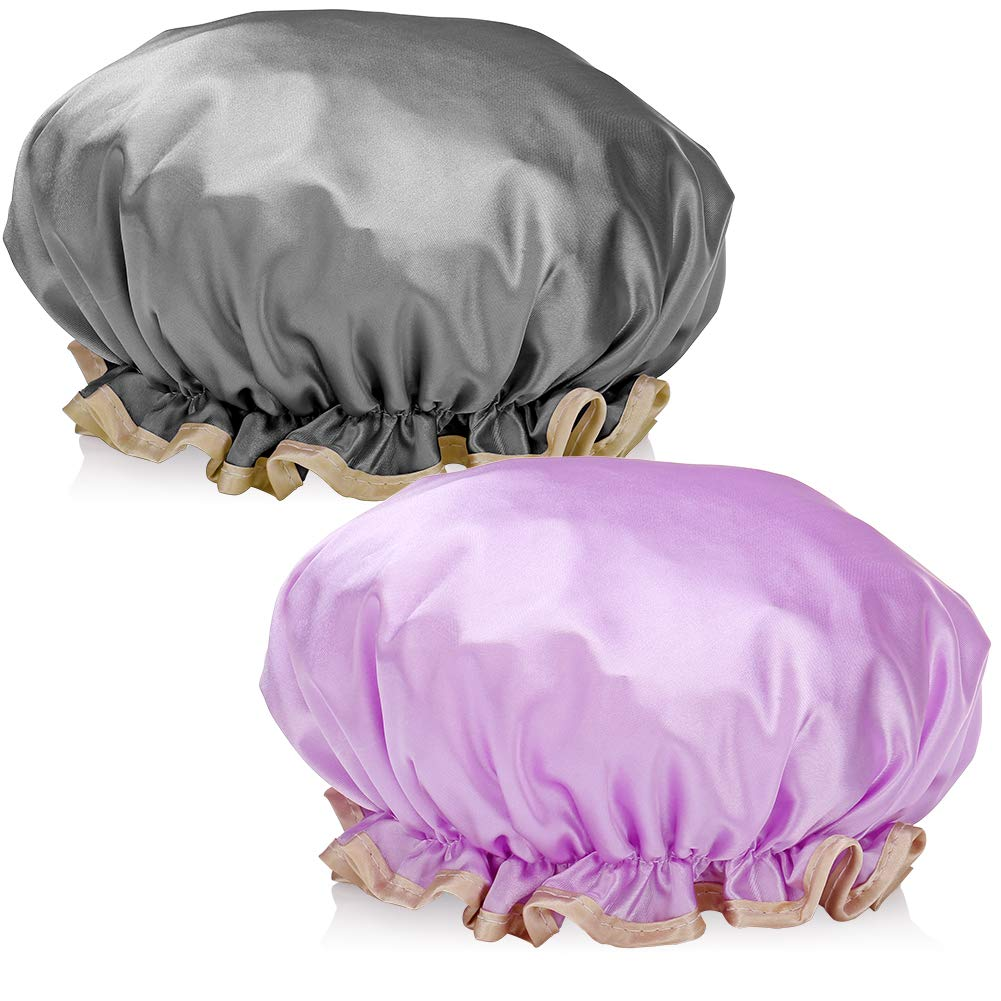 H&S 2 Shower Cap Waterproof for Ladies Women Girls Men Adults Long Hair Purple Black