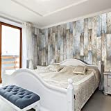murando - PURO TAPETE - Realistische Holzoptik Tapete ohne Rapport und Versatz - Kein sich wiederholendes Muster - 10m Vlies Tapetenrolle - Wandtapete - modern design - Fototapete - Bretter Holz blau grau braun f-A-0172-j-b
