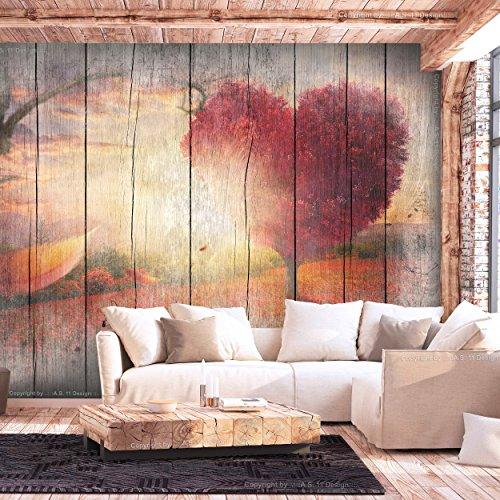 decomonkey | Fototapete Holz Herz Bäume 350x256 cm XL | Tapete | Wandbild | Wandbild | Bild | Fototapeten | Tapeten | Wandtapete | Wanddeko | Wandtapete | Orange Blumen Rot Grau | FOC0022a73XL