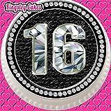 vorgeschnittenen Essbarer Zuckerguss Große Cake Topper, 19,1cm Runde Schwarz Diamanten Alter 16Geburtstag 16. Celebration