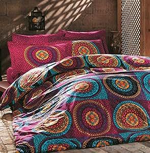 parure de lit en coton double avec housse de couette motif. Black Bedroom Furniture Sets. Home Design Ideas