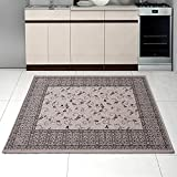Teppich SISAL Optik in Grau Silber - Ornamente Küche Flachgewebe Küchenteppich - Orient Perser Muster - Sehr Robust Öko-Tex