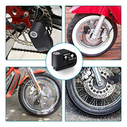YOHOOLYO Candado de Disco con Alarma 7mm 110DB Dispositivos Antirrobo para Motos Bicicletas
