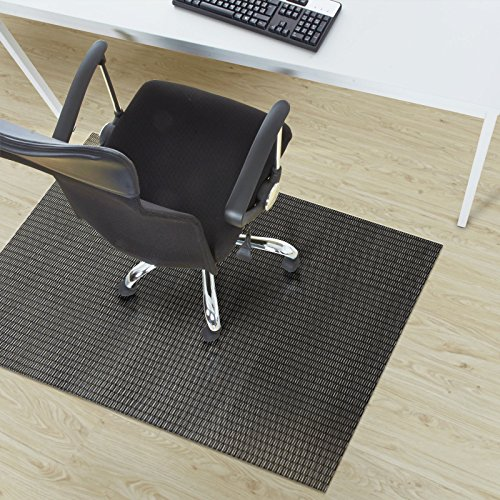 casa pura® Padua Black Flat Weave Non Slip Protector Mat | For Office Chairs etc. | 90x120cm | 6 Sizes