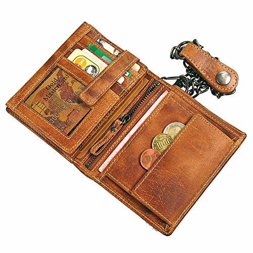 00c169910b216 ... Branco Biker Geldbörse Leder Geldbeutelmit Kette Portemonnaie aus  robusten Leder Kettenbörse im Vintage Look Bikerbörse GoBago ...