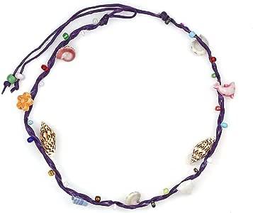 Idin Jewellery Cavigliere - Conchiglie fatte a mano con perline multicolore Cavetto viola con cavo di cera