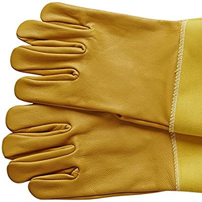 Natural Apiary® BEEKEEPING GLOVES - COWHIDE - VENTED SLEEVES & STING PROOF CUFFS - SMALL - Durable Leather - Extra Long Thick Sleeves 5