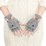 Winter Halbfinger Handschuhe Fingerlose Fäustling Fäustlinge Damen Cartoon Fingerhandschuhe Strickhandschuhe Thermohandschuhe mit Klappe