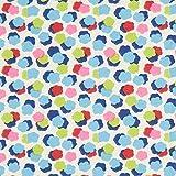Fabulous Fabrics Baumwolljersey Bunte Wölkchen – wollweiss — Meterware ab 0,5m — Oeko-Tex Standard 100 — zum Nähen von Kinderbekleidung und Babybekleidung