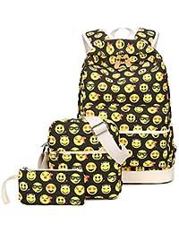 Tibes netter Schulrucksack lustiger emoji Rucksack für Mädchen/Damen 3 Stück set Kinder Rucksäcke
