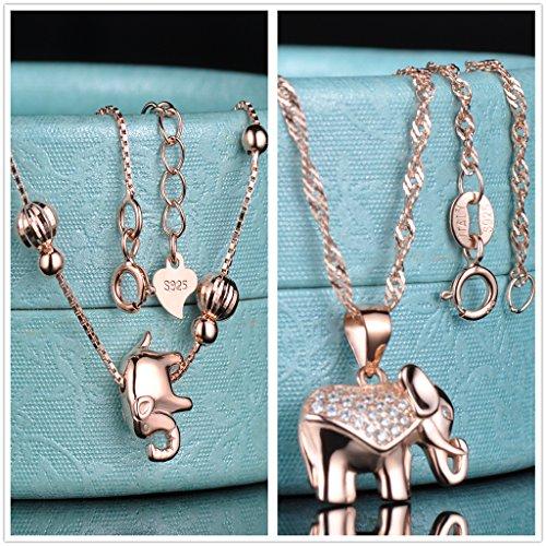 Yumilok Roségold 925 Sterling Silber Zirkonia Elefant Charm Armband Halskette Schmuck Set Armkette & Kette mit Anhänger Set für Damen Mädchen - 2
