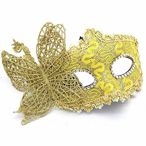 Mascara Facial Careta Protector de Cara dominó Frente Falso Maquillaje Baile espectáculo Fiesta Pasarela de Cuero máscara de Parche de Mariposa Mariposa dragón Amarillo