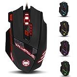 ZELOTES T90 Gaming Maus 9200 DPI mit 8 Tasten, 13 Licht-Modi, Gewichtstuning, USB Wired Mäuse für Pro Gamer