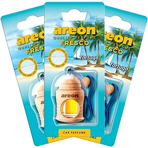 AREON auto deodorante profumo fresco 4ml-Diffusore di profumo-appeso bottiglia Tortuga con copertura in legno naturale, a lunga durata, set di 3