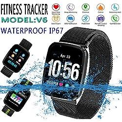 Wan Bo V6 Fitness Tracker Pulsera de Actividad Tracker Reloj Inteligente Pulsera Fitness, Metal Negro
