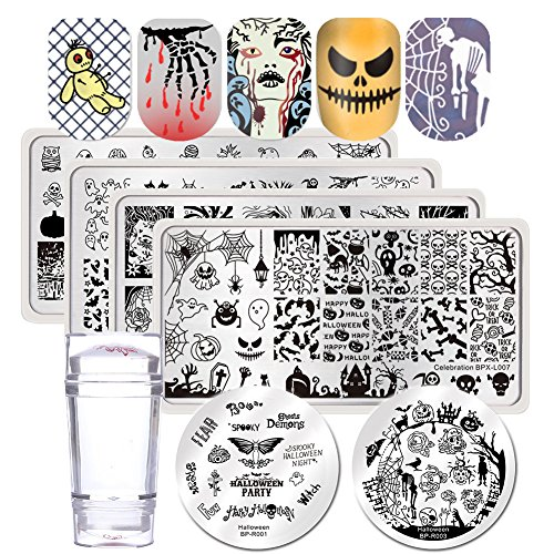 BORN PRETTY Nail Art Stamping Templates Halloween Zombie Bride Spider Castle 6Pcs Stamp Plates With Stamper Kit (Stamping Art Halloween Nail)