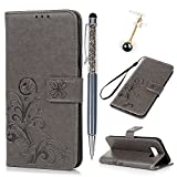612IoxdB8FL. SL160  UK BEST BUY #1Galaxy S8 Case, Lanveni Samsung Galaxy S8 Flip Kickstand Wallet Case Cover, Durable Soft Leather + Full Edge Protection TPU Hybird Shockproof Technology + 1 Stylus Pen + 1 Dust Plug   Grey price Reviews uk