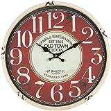 perla pd design Metall Wanduhr mit Glasscheibe Vintage Design OLD TOWN altweiß lackiert ca. Ø 30 cm